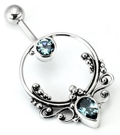 "14g 7/16"" Bali FRAME Sterling Silver Navel Belly Jewelry :: Bali Belly Rings :: Belly Rings :: Painful Pleasures, Inc."