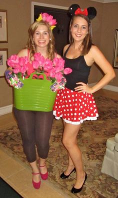 Gardener and Minnie Mouse costumes...    sucks to be the gardener....