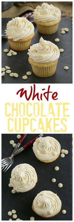 Ghirardelli Vanilla Cupcakes with White Chocolate Buttercream