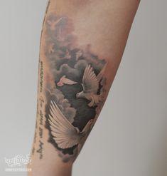 Dove Tattoos by tatuyiseuteu River. Dove Tattoo. New tattoo. Tattoos clouds. Black and Grey. Per tattoos