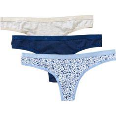 Secret Treasures Ladies Cotton Thong Panty, 3 pack, Size: 8, Gray