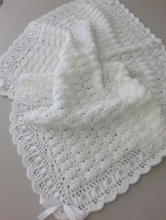 Your place to buy and sell all things handmade : Crochet Baby Blanket Christening Afghan, Handmade Crochet White Ivory Blanket, Satin Ribbon Baby Shower Gift, Newborn Baby Girl Baby Boy Crochet Baby Blanket Free Pattern, Baby Afghan Crochet, Crochet Bebe, Crochet For Boys, Free Crochet, Baby Afghan Patterns, Booties Crochet, Hat Crochet, Baby Afghans
