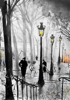 "Winter park in ink Saatchi Online Artist: Loui Jover; Pen and Ink, Drawing ""montmartre stairs"" Art And Illustration, Maurice Utrillo, Saatchi Online, Wow Art, Belle Photo, Painting & Drawing, Amazing Art, Art Drawings, Saatchi Art"