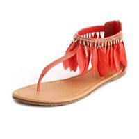 Boho Feather T-Strap Sandal: Charlotte Russe: too cute