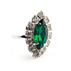 Vintage Green Glass & Rhinestone Ring   Size 7 by Maejean Vintage, $16.00