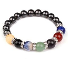 Amazon.com: Chakra Hematite Bracelet Healing Crystal Magnetic Therapy Stretch Stone Beaded Bracelet(8mm) For Men&Women: Jewelry