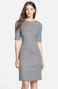 Free shipping and returns on Pink Tartan Houndstooth Sheath Dress at Nordstrom.com. Houndstooth check lends a dash of menswear attitude to a crewneck sheath tailored from a stretch-wool blend. The flattering hourglass silhouette is cut with elbow-length sleeves.