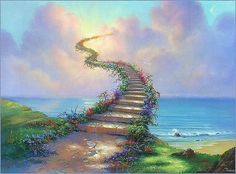 """How would I ever love my enemies as Jesus commands? Part 15 and the conclusion of the series """"Stairway to Heaven."""" Stairway to Heaven - 15 Led Zeppelin, Jim Warren, Heaven Painting, Heaven Art, Dog Heaven, Path To Heaven, Stairs To Heaven, Past Life Regression, Regression Therapy"""