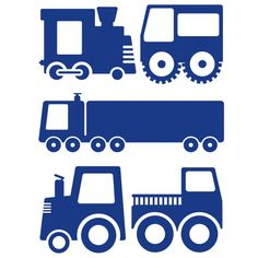 Trucks/Trains/Cars Great for boys room Silhouette Clip Art, Silhouette Images, Silhouette Portrait, Silhouette Cameo Projects, Stencils, Stencil Patterns, Doodles, Felt Ornaments, Craft Party