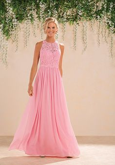 Pink chiffon bridesmaid dress with lace halter bodice | B2 by Jasmine | Style…