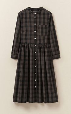 Our Chalkboard Cotton Shirt Dress is made from supple cotton with a linear check. It is collarless and button through with a swingy skirt. Cotton Shirt Dress, Cotton Dresses, Babydoll Dress, Short Sleeve Dresses, Dresses With Sleeves, Modest Dresses, Maxi Dresses, Simple Outfits, Work Wear