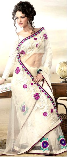 Off #White Net #Saree With #Blouse @ $61.09 | Shop Here: http://www.utsavfashion.com/store/sarees-large.aspx?icode=sga1854