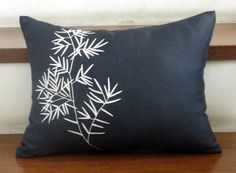 White Bamboo Embroidered  Lumbar Pillow Cover  by KainKain on Etsy, $18.00