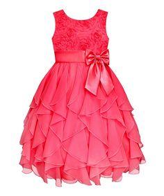 Coral Rosette Ruffle Dress