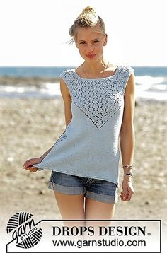 Crashing Waves - Knitted top with raglan and lace pattern, worked top down in DROPS Cotton Light. Sizes S - XXXL. - Free pattern by DROPS Design Drops Design, Summer Knitting, Free Knitting, Knitting Needles, Lace Knitting Patterns, Womens Sleeveless Tops, Top Pattern, Free Pattern, Crochet Clothes
