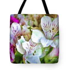 "Lovely Lilies Tote Bag by Flamingo Graphix John Ellis (18"" x 18"").  The tote bag is machine washable, available in three different sizes, and includes a black strap for easy carrying on your shoulder.  All totes are available for worldwide shipping and include a money-back guarantee."