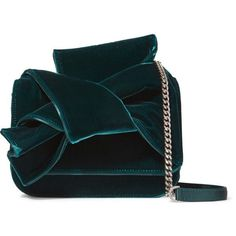 No. 21 Knot satin-trimmed velvet shoulder bag (14.224.105 VND) ❤ liked on Polyvore featuring bags, handbags, shoulder bags, emerald, shoulder hand bags, zip coin purse, snap coin purse, blue purse and cross-body handbag