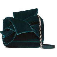 No. 21 Knot satin-trimmed velvet shoulder bag found on Polyvore featuring bags, handbags, shoulder bags, clutches, shoulder handbags, blue crossbody, blue handbags, coin purse and blue purse