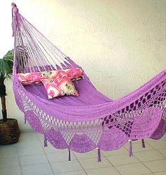 http://topratedhammocks.com/ has some tips and advice on choosing the right hammock for your residential and\or recreational needs. Eno Hammock, Mayan Hammock, Indoor Hammock Bed, Backyard Hammock, Hammock Chair, Outdoor Beds, Outdoor Furniture, Outdoor Decor, Indoor Sunrooms