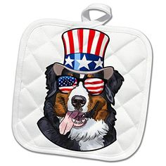 3dRose Patriotic American Dogs Burmese Mountain Dog With American Flag  Sunglasses and Top hat Potholder Burmese f256985b4dc6
