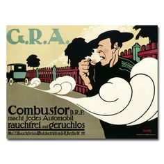 Reduce Pollutant Emission Cars by Hans Rudi Erdt Vintage Advertisement on Canvas