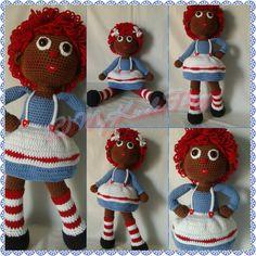 "Crochet Doll; African American ""Raggedy Anne"" inspired doll"