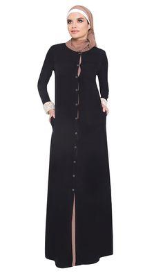 Black Mocha Reversible Lace and Chiffon Abaya with FREE Hijab - Abaya Designs - Designer abayas at Artizara.com