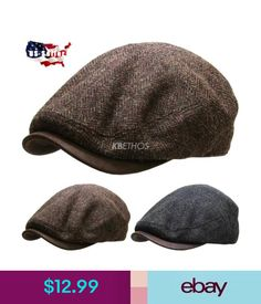 Unisex Cord Summer Style Preformed Peak Flat Cap Country Corduroy Hat