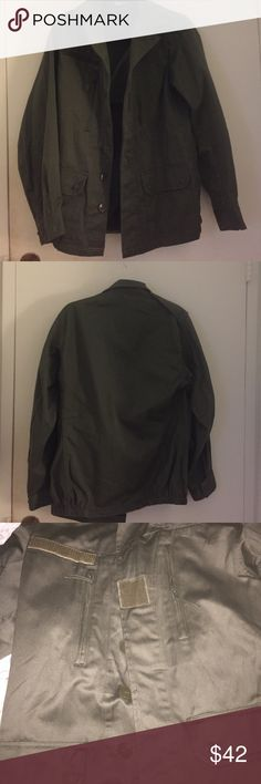 LIKE NEW Vintage Army Jacket Like new condition! Olive coat with funky details - buttons, zippers & velcro.  Accepting all reasonable offers!! Jackets & Coats Trench Coats