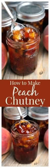 "Homemade Peach Chutney is like ""Fall"" in a jar! It's very easy to make and preserve and tastes amazing over chicken, pork or fish."