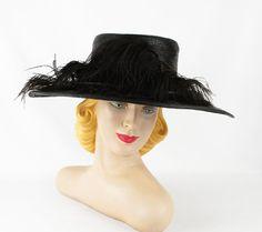 1920s Hat Black Straw Wide Brim Sailor Style by alleycatsvintage