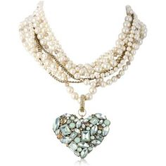 """Betsey Johnson """"Mint Multi"""" Faux Pearl Multi-Row Crystal Gem Cluster Heart Pendant Necklace, 22"""""""
