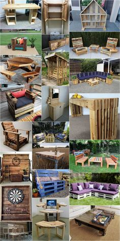 DIY Wonderful Wooden Pallets Ideas - covered bench, pallet sofa project, pallet toilet cabinet, pallets patio furniture, pallet chair and spool, pallet dresser, pallet garden furniture, doll house