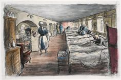 image: A view down a ward. All the beds are full. About half way down the ward two nurses are tending to a patient. In theforeground a nurse walks away from the viewer holding some laundry while another is arranging a medicine trolley. Edward Ardizzone, Ww1 Art, Children's Book Illustration, Book Illustrations, Call Art, Old Pictures, First World, Painting & Drawing, Art History