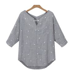 Star printed Women tops Medium Sleeve summer Styles Shirts Fashion loose Blouses Shirts New Summer Blusas 63
