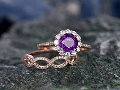 Certified Solitaire Diamond Engagement G H – Fine Rings Pink Diamond Jewelry, Rose Gold Jewelry, Diamond Rings, Shop Engagement Rings, Vintage Engagement Rings, Fairy Jewelry, Wedding Rings Vintage, Purple Amethyst, Beautiful Rings