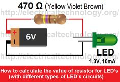 #How to #calculate the #value of #resistor for #LED's  (with #different #types of LED's circuits) Check it here: http://goo.gl/vvoYVd