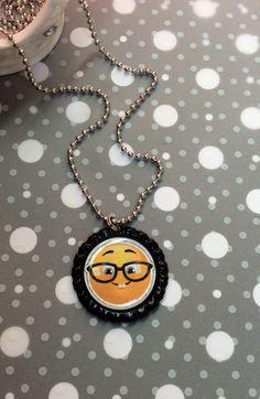 Emoji nerd bottlecap necklace! Www.etsy.com/shop/socialverbiage