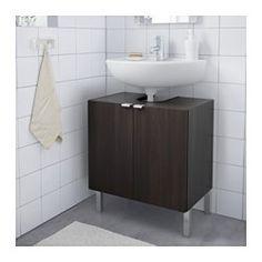 IKEA - LILLÅNGEN, Underskab til vask med 2 døre, sortbrun,