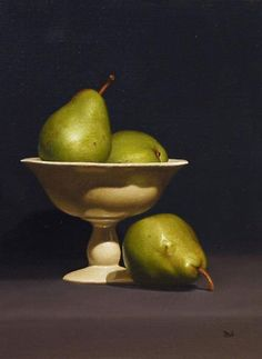 'A Pear of Threes' by Paul Coventry-Brown. 12 x 9 inches, oil on linen panel Apple Painting, Fruit Painting, Painting Abstract, Acrylic Paintings, Art Paintings, Still Life Drawing, Still Life Oil Painting, Fruit Photography, Still Life Photography