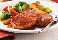 Steaks De Porc, Confort Food, Sous Vide, Orzo, Pork Recipes, Turkey, Food And Drink, Nutrition, Restaurant