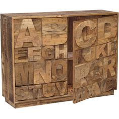Two-door wood sideboard with raised alphabet motif.   Product: SideboardConstruction Material: Solid wood