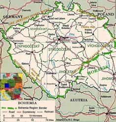 Map of Bohemia, part of my ancestry! Bohemia Country, Prague Czech Republic, Heart Of Europe, My Family History, Historical Maps, Old Maps, My Heritage, Cartography, Ancestry
