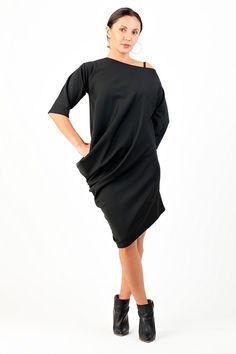 Black Asymmetric Dress/Loose Dress/Party Dress/Oversized Black Dress/Maternity Dress