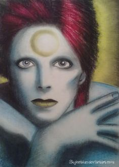 A drawing of David Bowie as Ziggy Stardust Medium: oil pastels WIPS: Similar drawings: