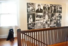 Gallery wall made up of black and white canvas prints.