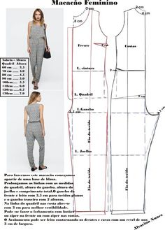 Best 12 Corte e costura – SkillOfKing. Dress Sewing Patterns, Sewing Patterns Free, Clothing Patterns, Sewing Clothes Women, Diy Clothes, Clothes For Women, Jumpsuit Pattern, Pants Pattern, Costura Fashion