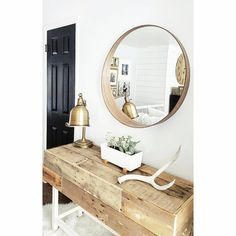 get two for bathroom Dining Room Wall Decor, Home Decor Bedroom, Living Room Furniture, Interior Design Inspiration, Home Decor Inspiration, Athens Apartment, Ikea Mirror, Ikea Home, Beautiful Living Rooms