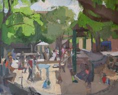"""John Dubrow Playground Sandbox 2008-15 Oil on linen 44"""" x 54"""" Courtesy of the Artist and Lori Bookstein Fine Art. Jerry Weiss's review of two cityscape exhibitions of work by Richard Estes and John DuBrow. #artstudentsleague"""