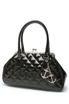Black Shiny Bon Voyage Kiss Lock Bag by Lux DeVille   Bags